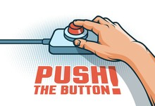 Hand Push The Red Button With  Finger - Retro Pop Art Illustration In Comic Style.