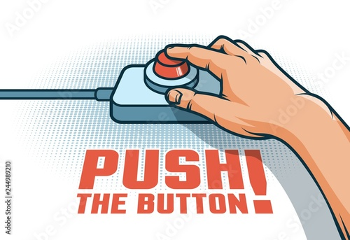 Fotomural Hand push the red button with  finger - retro pop art illustration in comic style