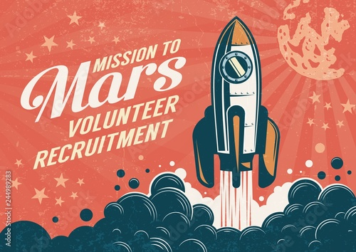 Stampa su Tela Mission to Mars - poster in retro vintage style with rocket taking off