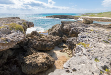 Scenic Landscape Of The Rocky Shore Of Cozumel, Mexico At El Mirador.