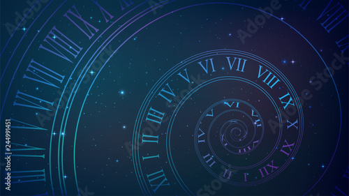 Fotografía  Background with spiral dial, clock in space