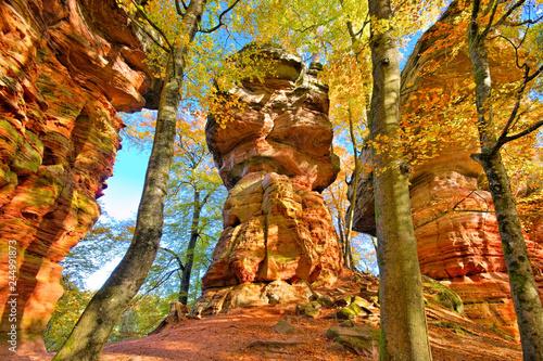 plakat Altschlossfelsen im Dahner Felsenland im Herbst - Altschlossfelsen rock in Dahn Rockland, Germany