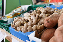 Fresh Ginger Root In Greengrocery