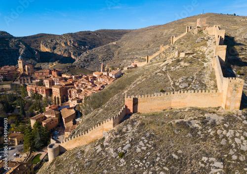 Fotobehang Historisch geb. Aerial view of Albarracin