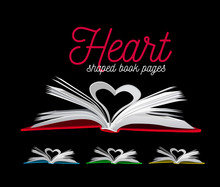 Heart From Book Pages. Illustration On Black