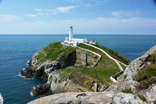 The Iconic Lighthouse At South Stack Near Holyhead On Anglesey In Beautiful North Wales