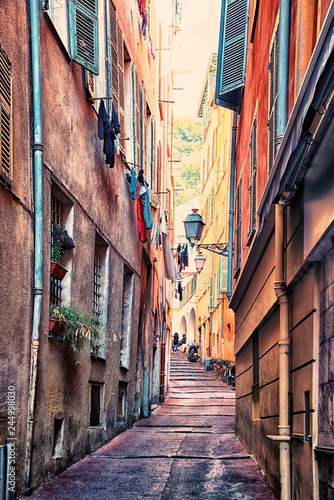 Small street in the old city of Nice