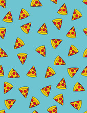 Piece Of Pizza Vector Pattern. Pizza Slice With Tomatos And Salami. Hand Drawn Fast Food. Blue Background. Cute Irregular Repeatable Pattern.