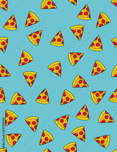 Piece of Pizza Vector Pattern. Pizza Slice with Tomatos and Salami. Hand Drawn Fast Food. Blue Background. Cute Irregular Repeatable Pattern. - 245000042