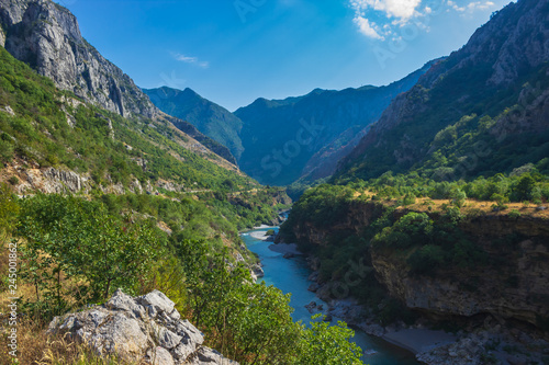 Spoed Fotobehang Pistache Mountain canyon in Montenegro. Soft focus and blurred background.