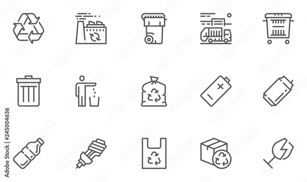 Fototapeta Garbage Vector Line Icons Set. Trash, Organic Waste, Plastic, Aluminium Can, Pollution, Recycle Plant. Editable Stroke. 48x48 Pixel Perfect.
