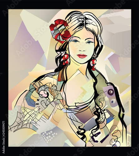 Poster Art Studio Traditional Spanish Flamenco woman