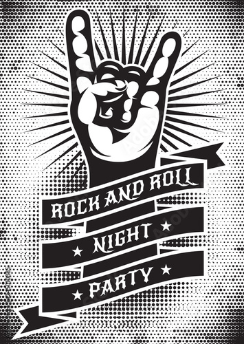 Vector monochrome template for design of a grunge poster on the theme of rock ni Canvas Print