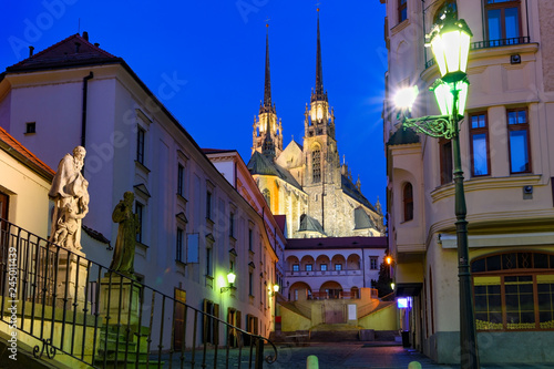 фотография  View of the St, Peter and Paul Cathedral in Brno, Czech Republic under blue twil