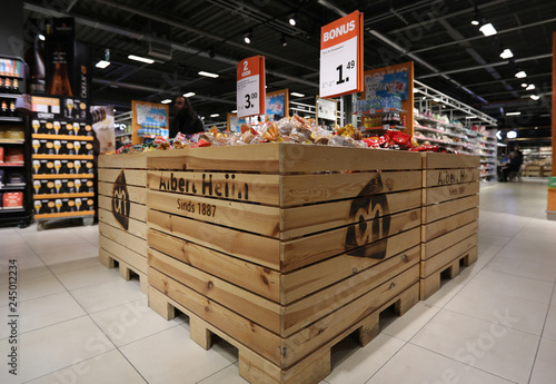 Logo of Albert Heijn is seen inside a shop operated by Ahold