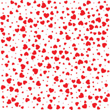 Vector Valentines Day Seamless Pattern With Red Small Grunge Hearts Isolated On White Background.  Design Backdrop For Wedding Invitation Card. Vector Illustration EPS10