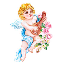 Angel, Cupid With A Musical Instrument Lute And Spring Flowers Isolated On White Background. Watercolor. Illustration. Template. Vintage. Card. Clipart. Close-up. Valentine's Day