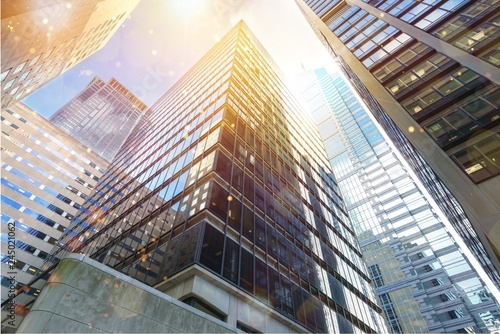 Modern office buildings in city Wallpaper Mural