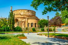 People Are Walking Towards Rotunda Of Galerius In Thessaloniki, Greece