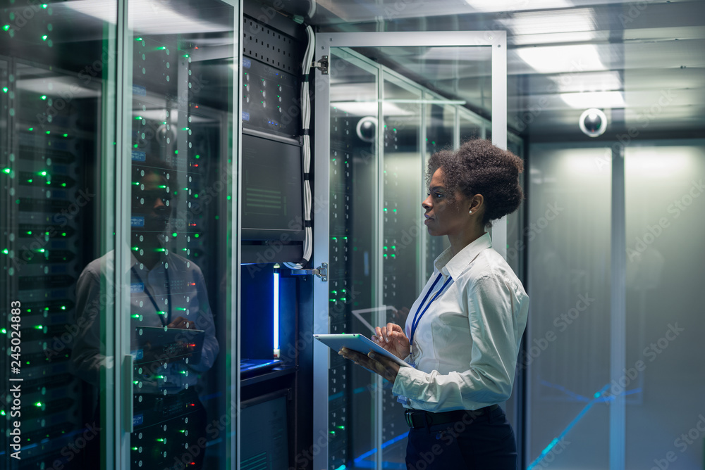 Fototapeta Medium shot of female technician working on a tablet in a data center full of rack servers running diagnostics and maintenance on the system