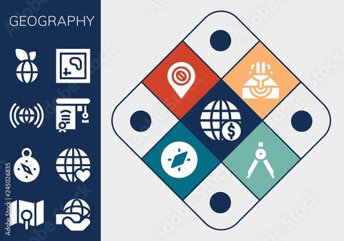 Fotografia  geography icon set