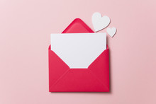 Love Letter. White Card With Red Paper Envelope Mock Up
