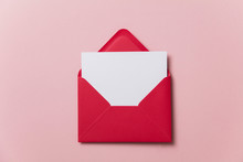 Blank White Card With Red Pape...