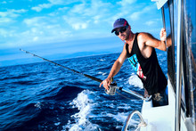 The Brutal Young Man On Sea Fishing. Trolling.