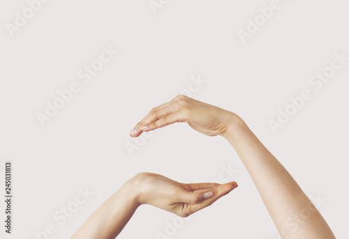 Fototapety, obrazy: Multiple female hand gestures on gray background