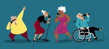 Karaoke At Retirement Home, EPS 8 Vector Illustration