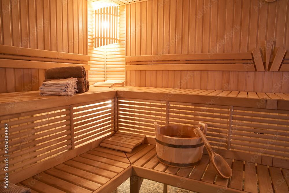 Fototapeta Wooden Sauna, wet area, steam, recreation zone