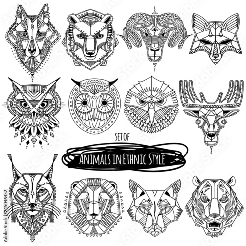 Set of 12 drawings of wild animals in ethnic style. Vector hand drawn illustration, totem, tattoo design, ethnic logo Wall mural