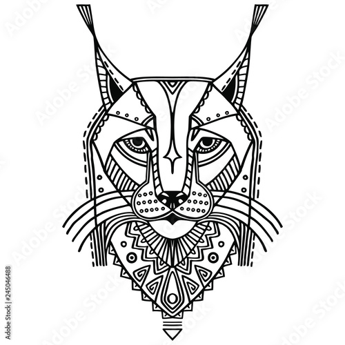 Ethnic Style Bobcat Vector Drawing Isolated Outlines
