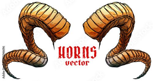 Fotografie, Tablou Cartoon colorful detailed big sharp spiral animal horns or antlers