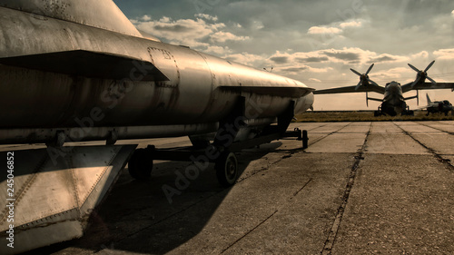Nuclear bomb on the runway, nuclear bomb on the runway, military base Wallpaper Mural