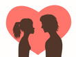 Silhouettes girl and guy on background red heart.