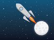A rocket from the moon in cartoon style. spaceship - spacecraft, moon and stars. vector illustration.