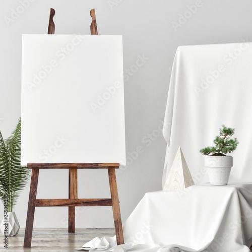 Obraz na płótnie Mock up Canvas in artistic studio, two rose poufs, 3d render, 3d illustration