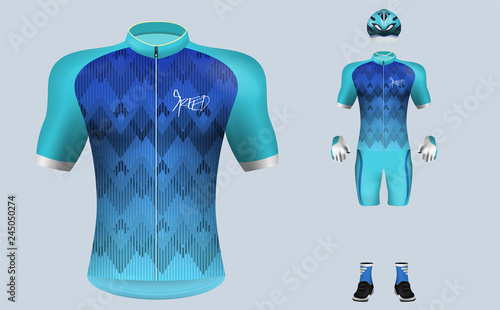 Obraz na plátně 3D realistic of front of blue gradient cycling jersey t shirt with pants and helmet on shop backdrop