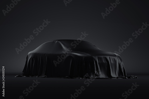 Presentation of the car covered with a black cloth. 3d rendering Wallpaper Mural