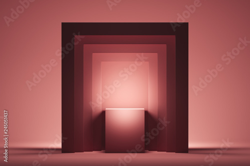 Fotografía Showcase with empty space on pedestal on pink square background