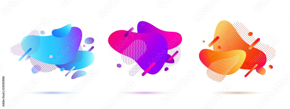 Fototapety, obrazy: Set of Abstract Gradient Shapes. Covers Template Design of Modern Memphis Style. Geometric Shapes and Dots for Presentation, Magazines, Flyers, Social Media Templates. Vector EPS 10