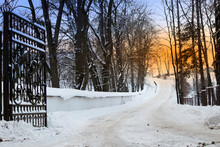 Winter Landscape With Open Iron Gate And Snowy Road Between Bare Trees Against Orange Sunset