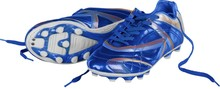 Blue And White Football Shoes And Soccer Ball, Isolated