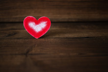 Red Heart On Wooden Background. Valentine's Day. Celebration