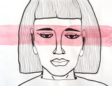 Graphic portrait of woman with red watercolor stripe on her face. Head illustration. Surreal concept - 245057279