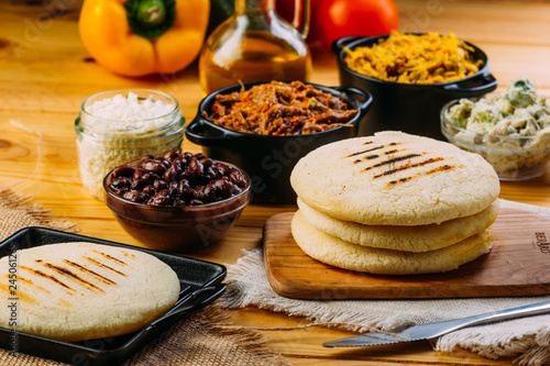 typical breakfast of Venezuela and Colombia, Arepas with many ingredients to fill them