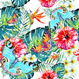 Hawaiian flowers, butterflies, watercolor, exotic plants, isolated on a white