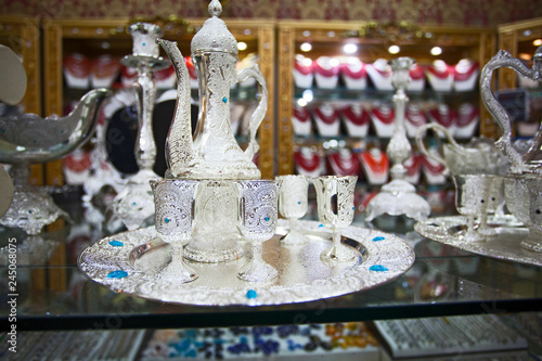 Silver pot in Egyptian market in Asia