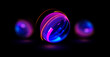 3D Atom icon. Nuclear model on dark background. Glowing bots structure.  Physics electrons concept. Ray ring ball. Micro model proton. Glow core. Light cell. Magic orb. Bright circle. Optical flare.